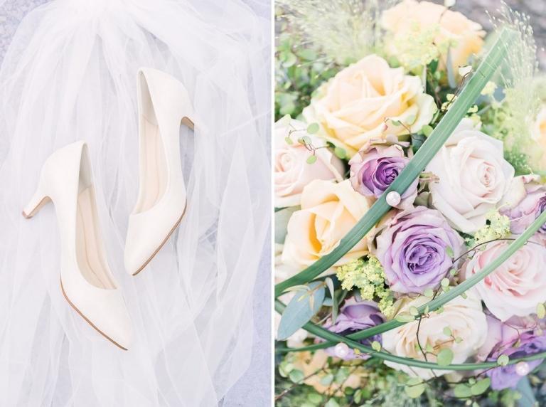 bröllopsskor och brudbukett