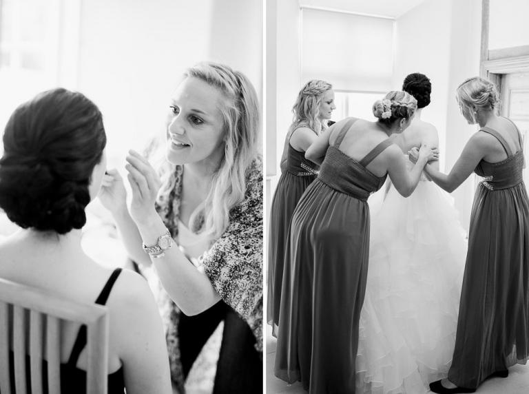 bruden blir sminkad